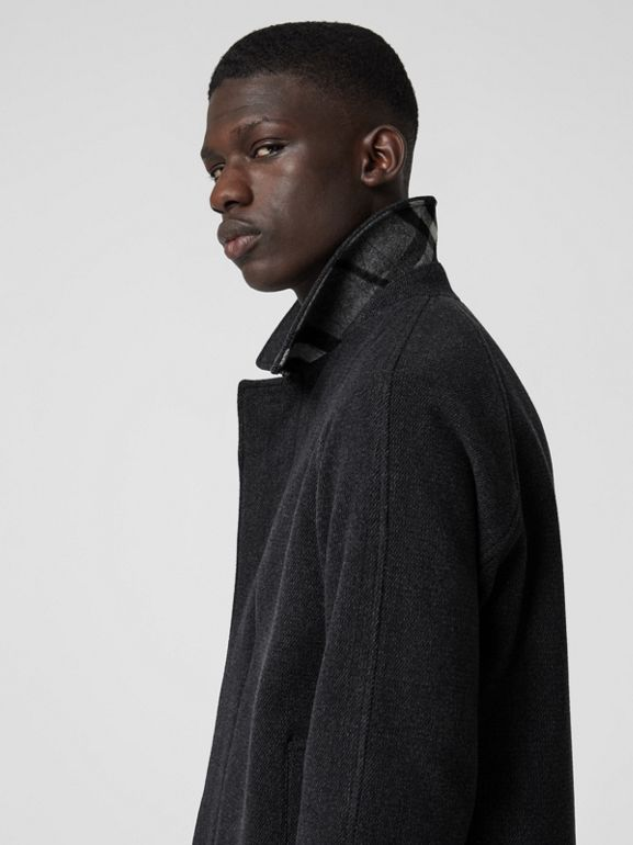 Wool Cashmere Blend Car Coat in Charcoal - Men | Burberry Hong Kong - cell image 1