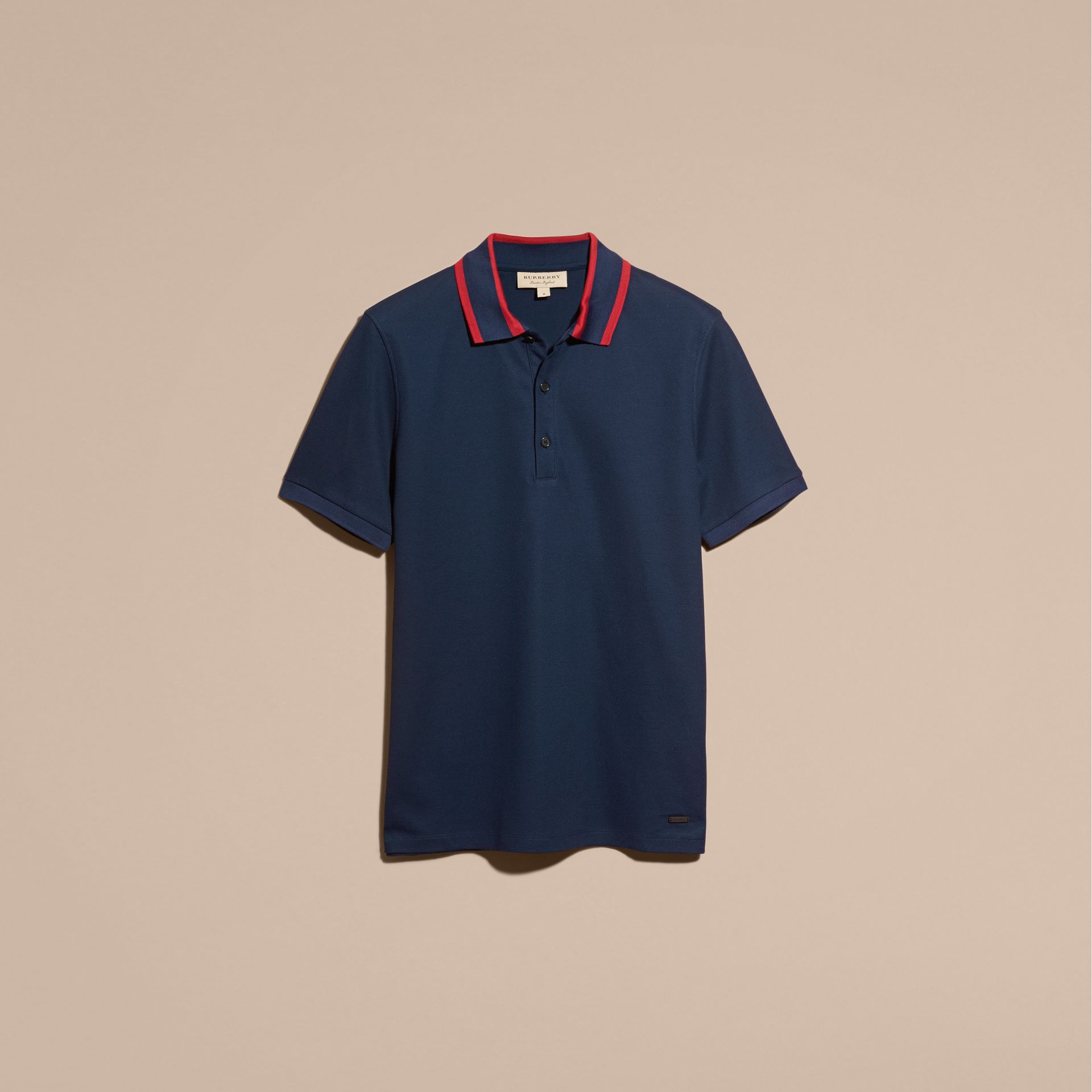 Striped Collar Cotton Piqué Polo Shirt in Navy Blue - gallery image 4