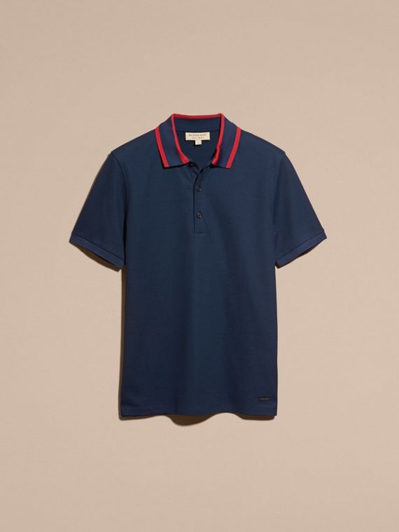 Striped Collar Cotton Piqué Polo Shirt in Navy Blue - cell image 3