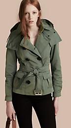 Showerproof Taffeta Trench Jacket with Detachable Hood