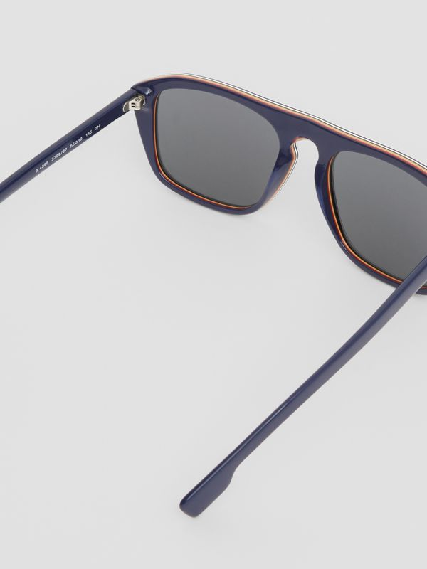 Icon Stripe Detail Square Frame Sunglasses in Blue - Men | Burberry United Kingdom - cell image 3