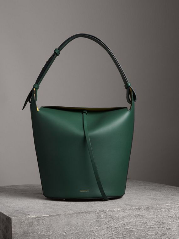 The Large Leather Bucket Bag in Viridian Green