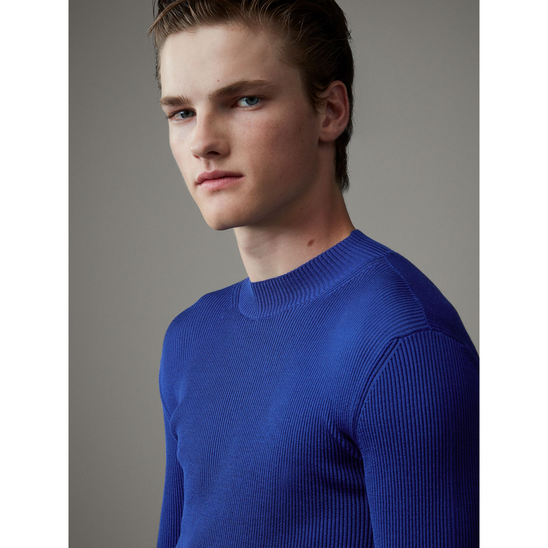 Rib Knit Silk Fitted Sweater in Brilliant Blue - Men | Burberry - gallery image 1