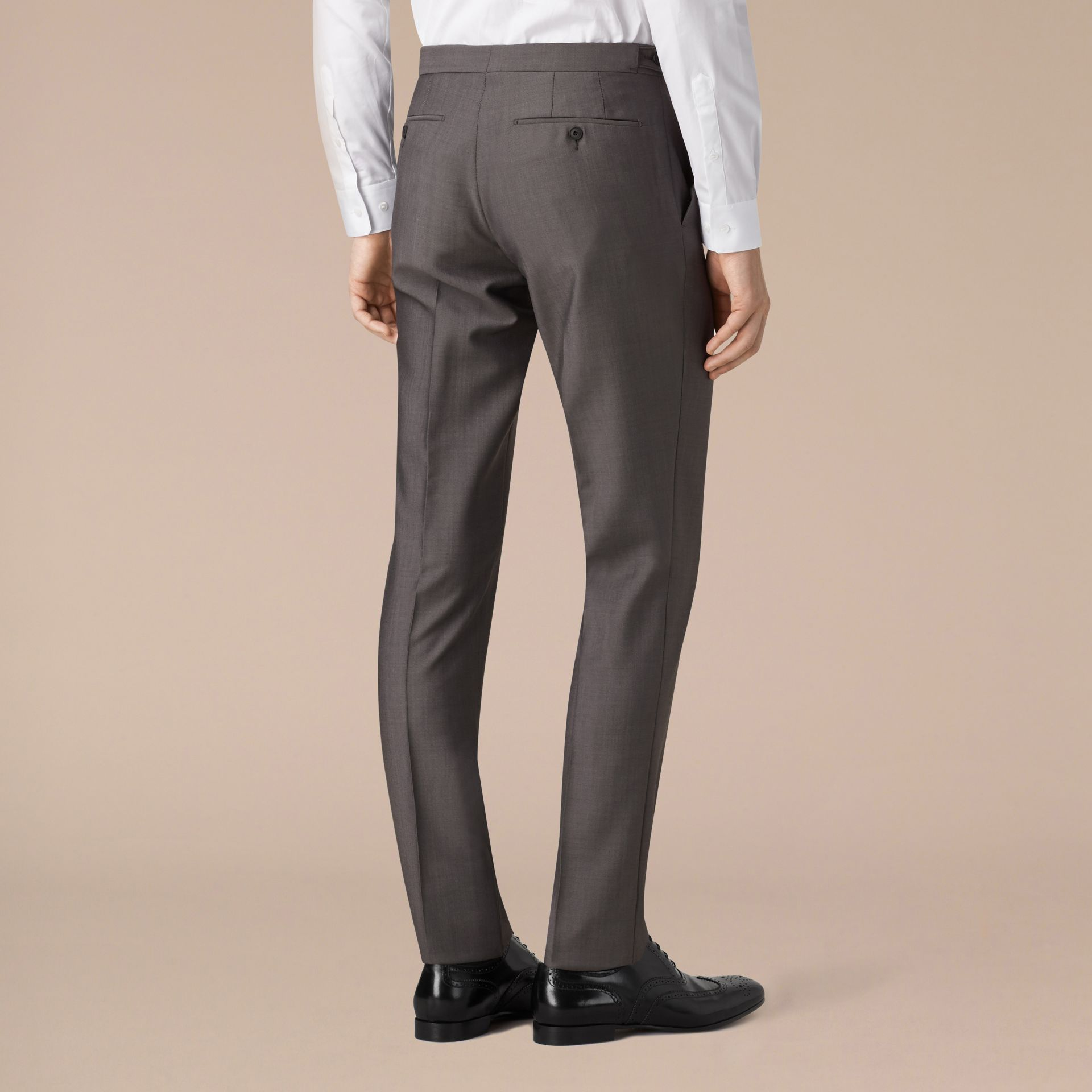 Mid grey Slim Fit Wool Mohair Trousers - gallery image 3