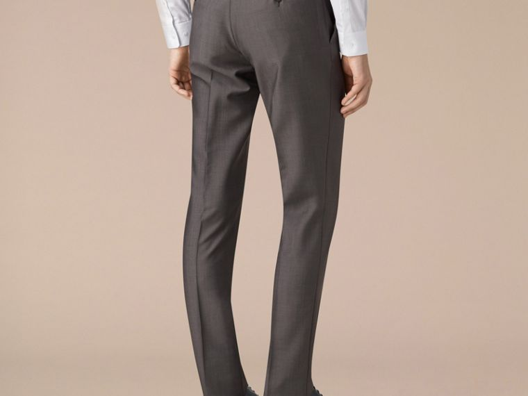 Mid grey Slim Fit Wool Mohair Trousers - cell image 2