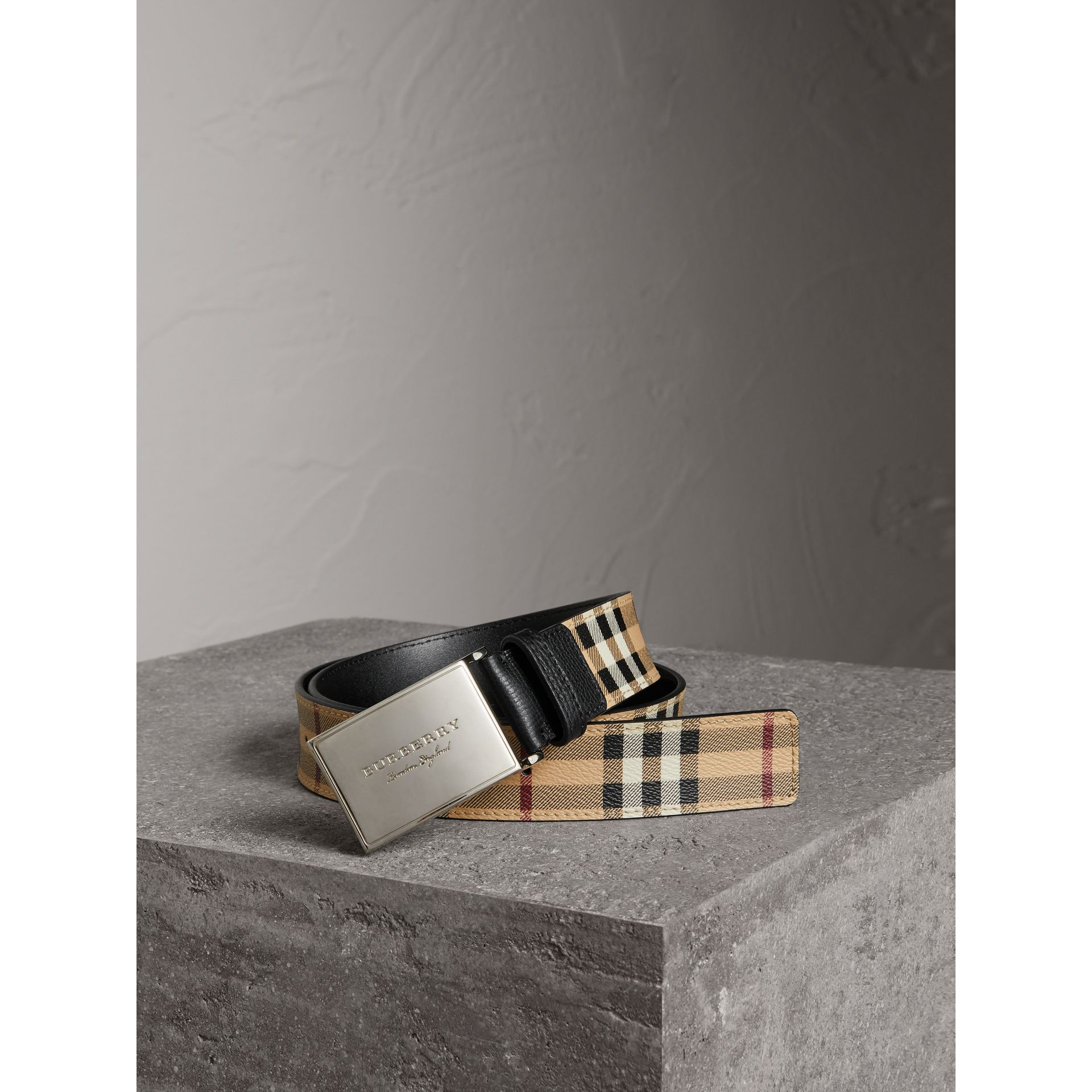 Haymarket Check Belt in Black - Men | Burberry Australia - gallery image 0