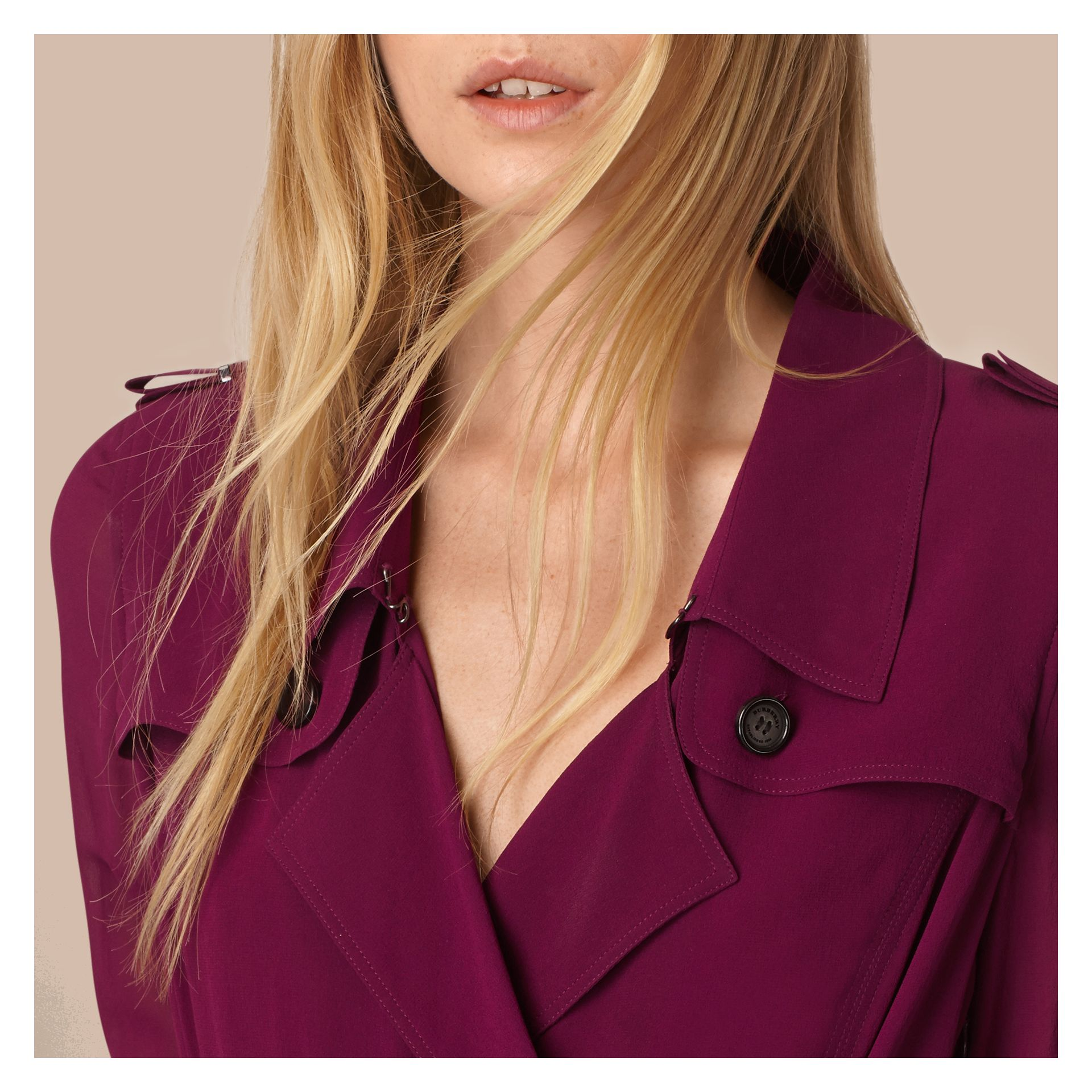 Silk Wrap Trench Dress in Bright Burgundy - Women | Burberry - gallery image 4