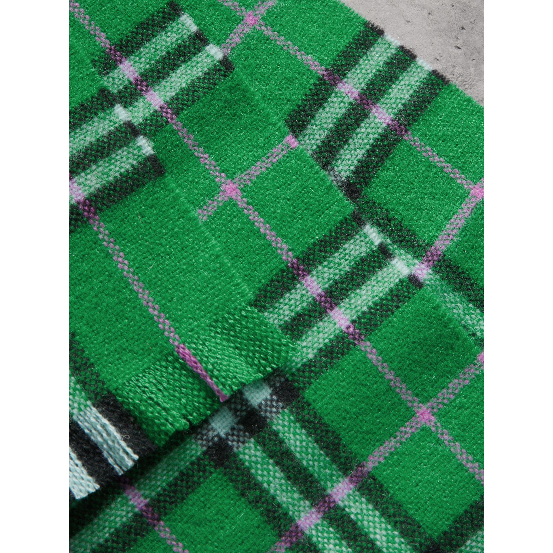 Check Cashmere Scarf in Bright Grass Green | Burberry - gallery image 1