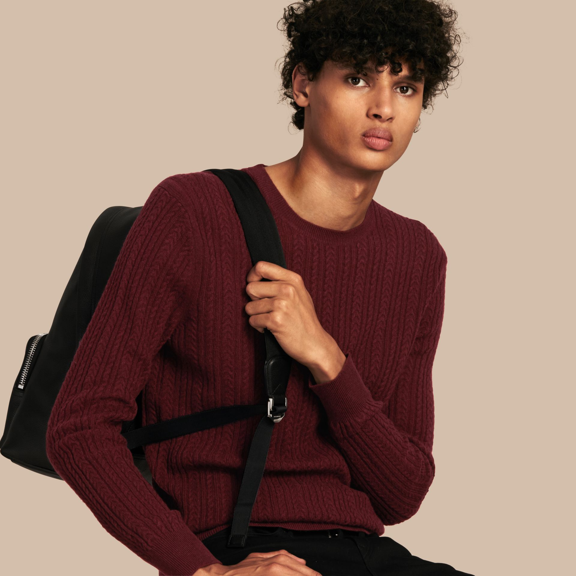 Aran Knit Cashmere Sweater in Deep Claret - gallery image 1