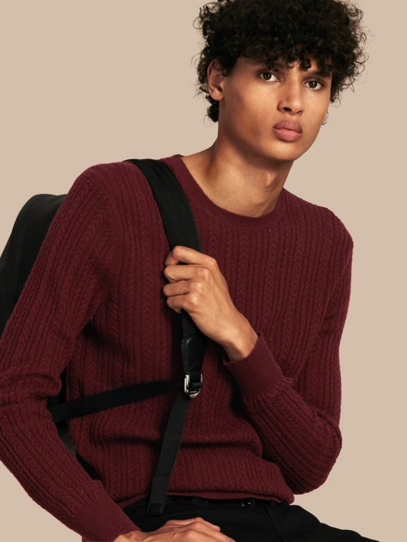 Aran Knit Cashmere Sweater in Deep Claret