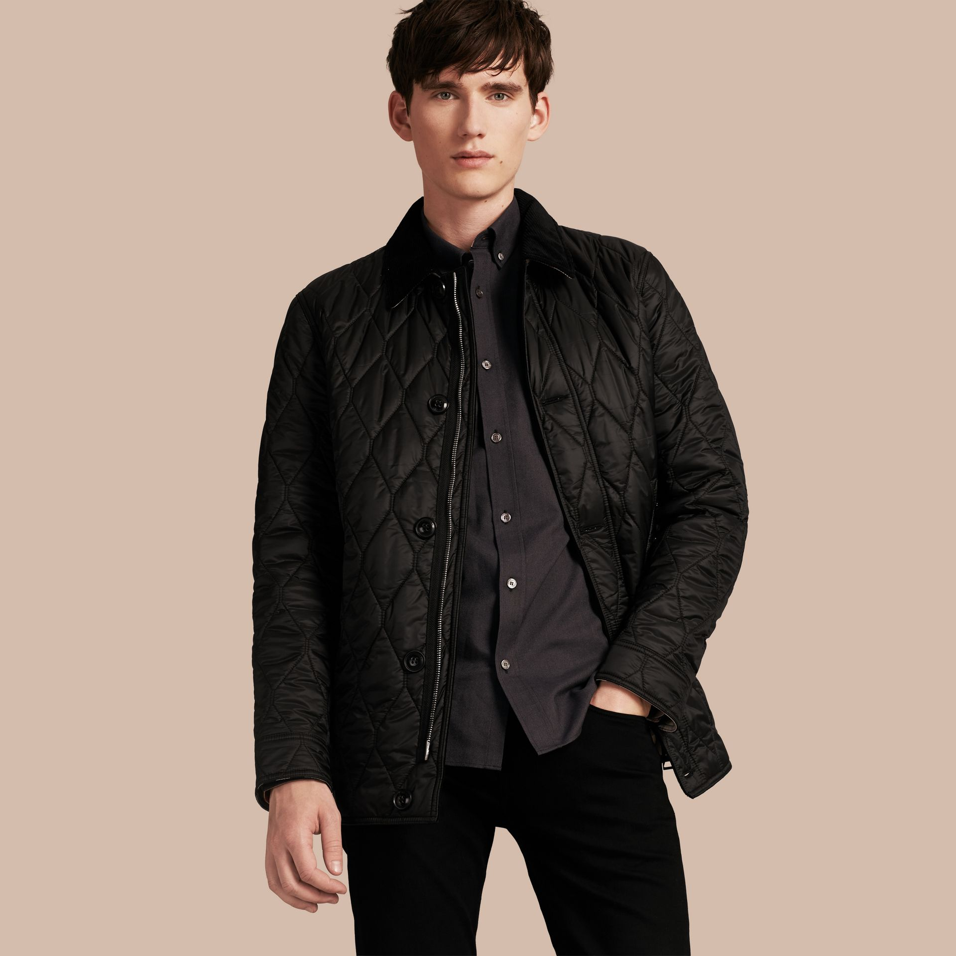 Black Check Detail Quilted Jacket with Corduroy Collar - gallery image 1