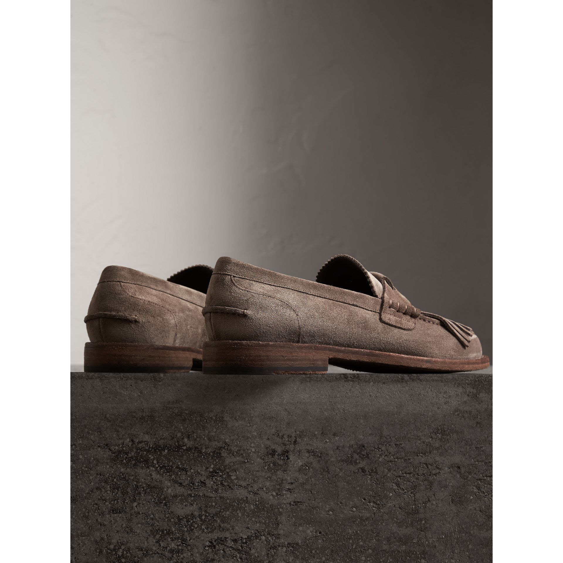 Kiltie Fringe Suede Loafers in Steel Grey - Men | Burberry - gallery image 3
