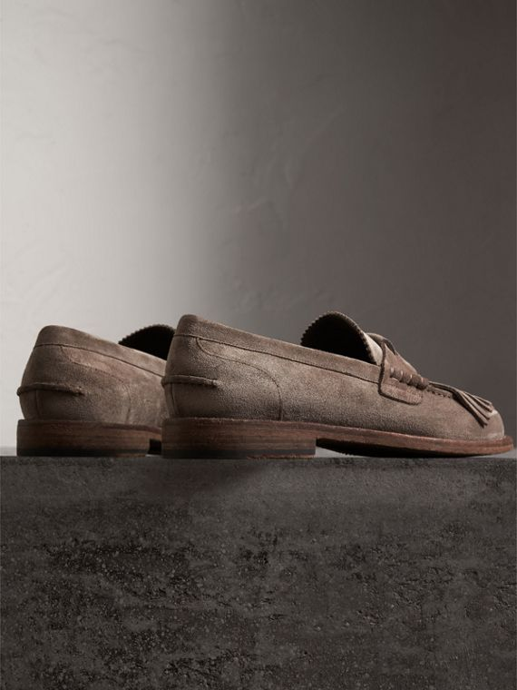 Kiltie Fringe Suede Loafers in Steel Grey - Men | Burberry - cell image 3