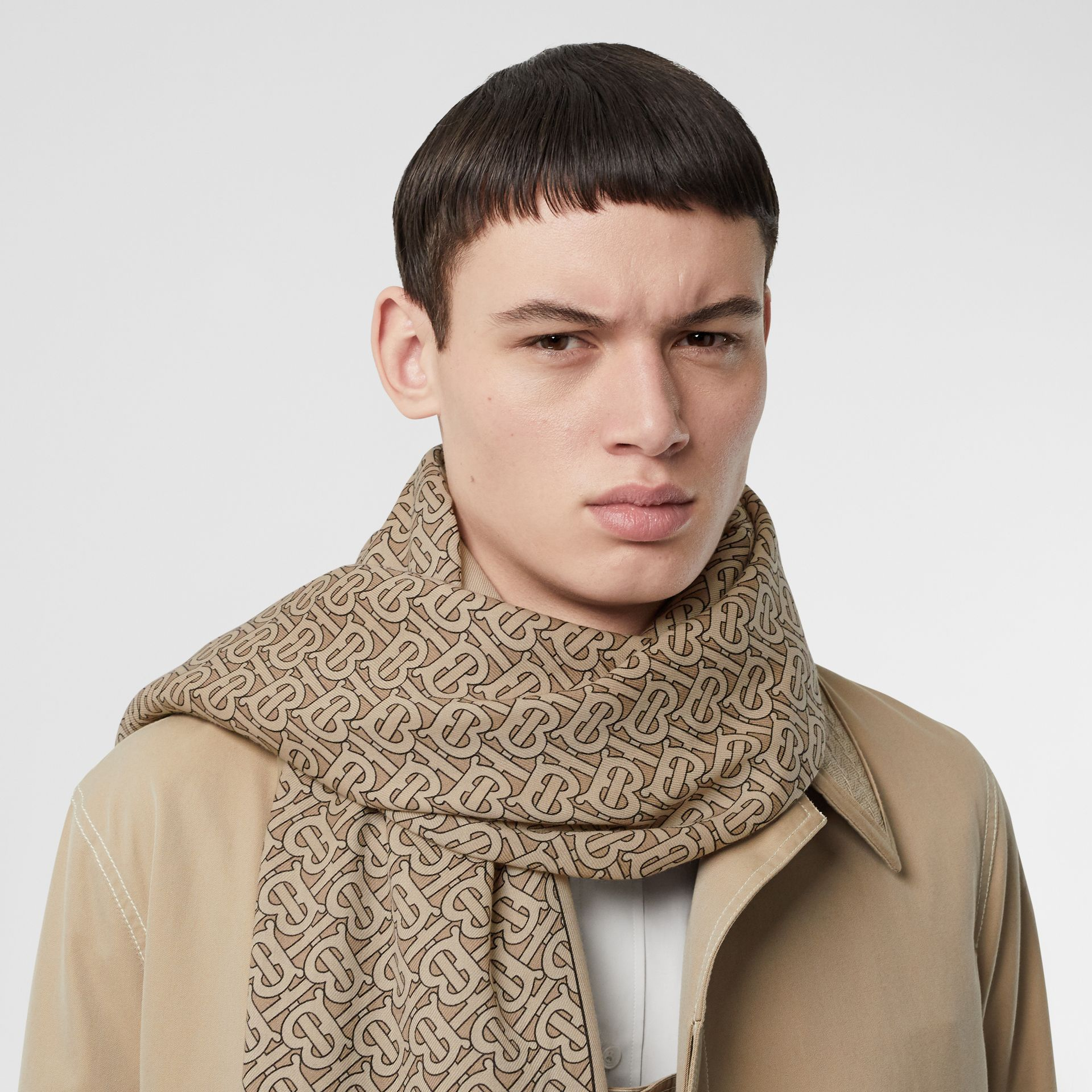 Monogram Print Lightweight Cashmere Scarf in Pale Camel | Burberry United Kingdom - gallery image 3