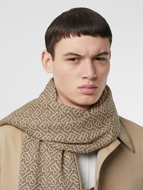 Monogram Print Lightweight Cashmere Scarf in Pale Camel | Burberry - cell image 3