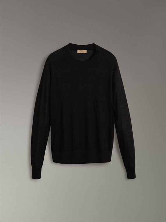 Open-stitch Detail Cashmere Sweater in Black - Women | Burberry Hong Kong - cell image 3