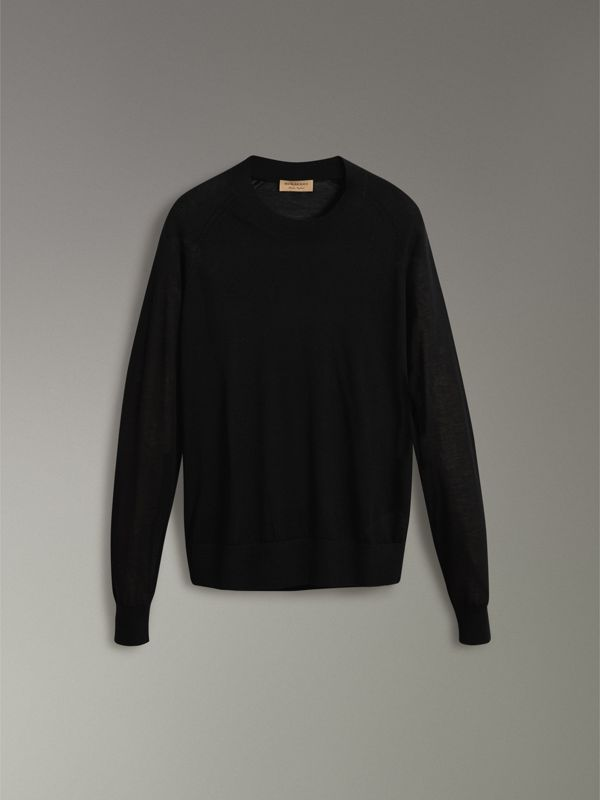 Open-stitch Detail Cashmere Sweater in Black - Women | Burberry - cell image 3