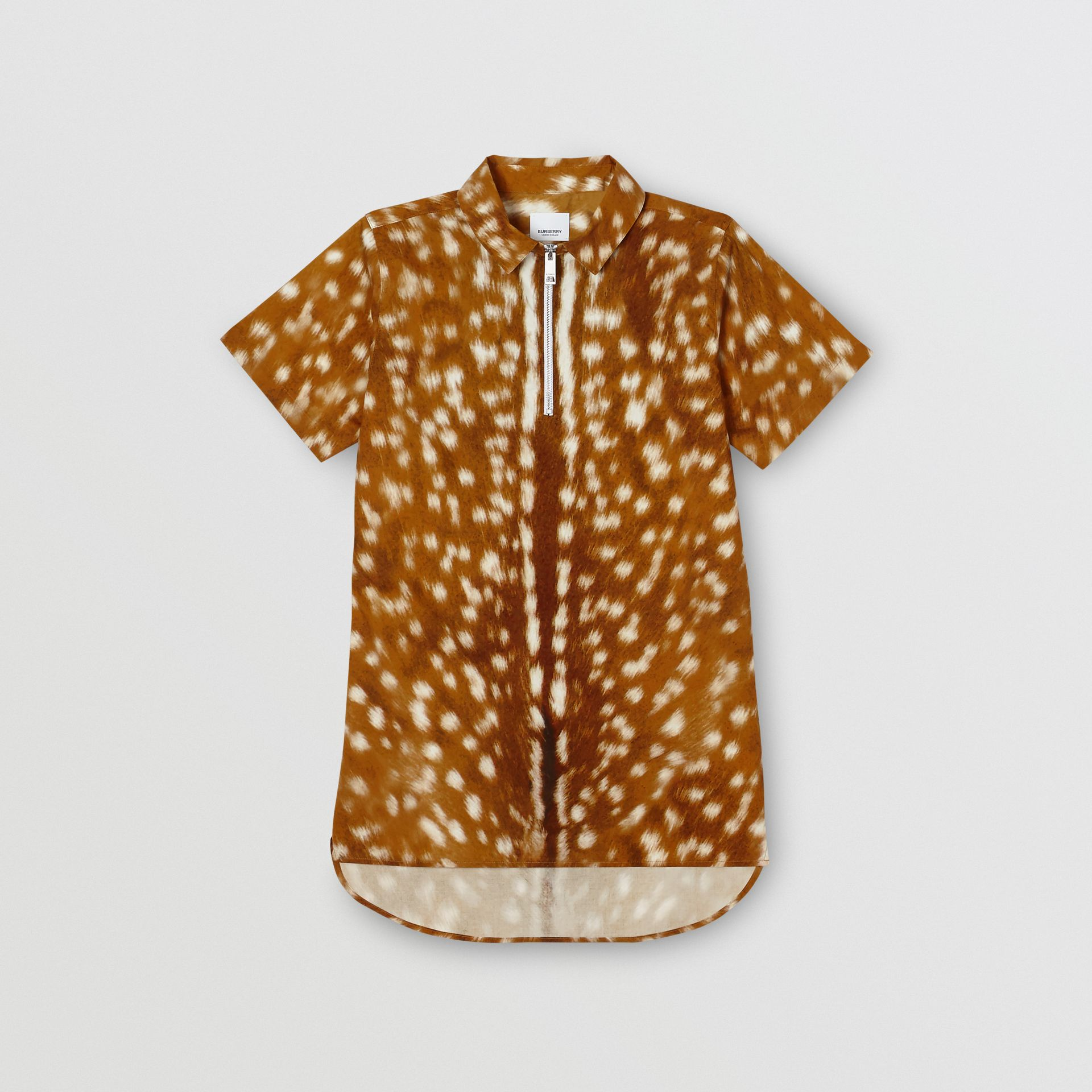 Short-sleeve Deer Print Cotton Shirt in Honey | Burberry - gallery image 0