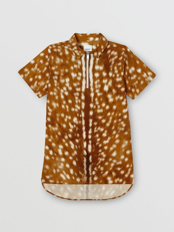 Short-sleeve Deer Print Cotton Shirt in Honey