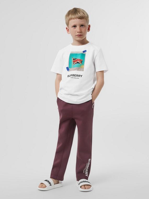 T-shirt en coton avec imprimé Union Jack (Blanc)