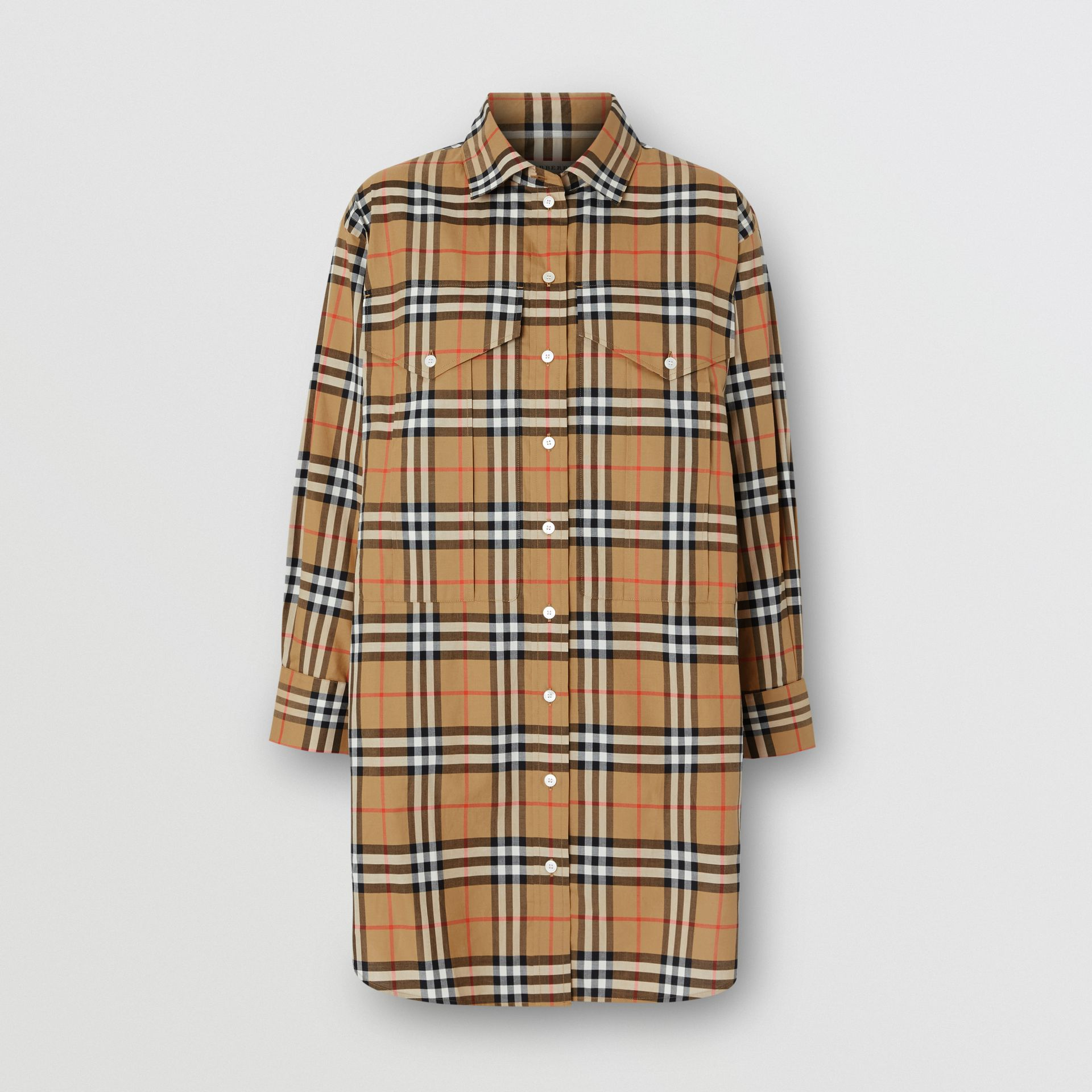 Vintage Check Cotton Oversized Shirt in Antique Yellow - Women | Burberry - gallery image 3