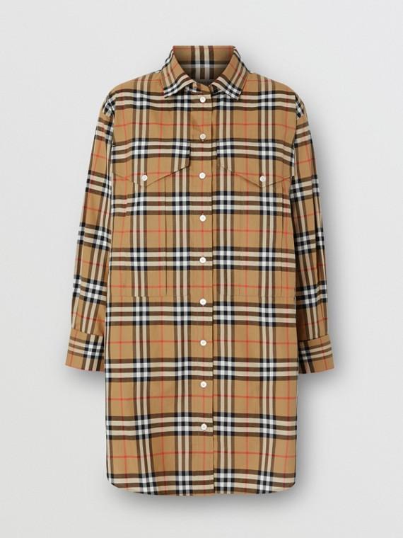 Camicia oversize in cotone con motivo Vintage check (Giallo Antico)