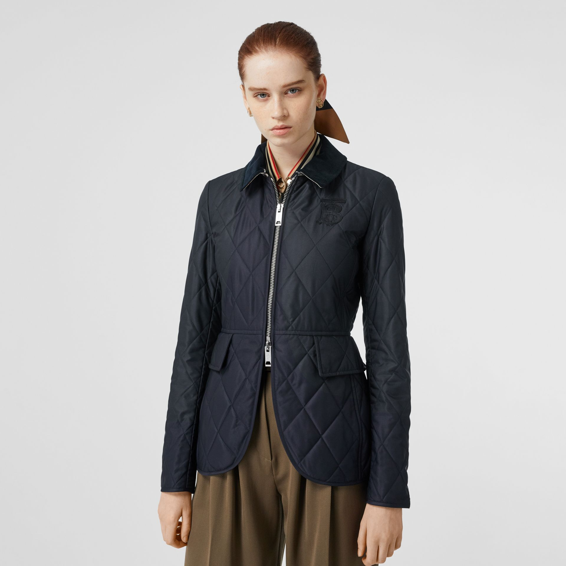 Monogram Motif Quilted Riding Jacket in Navy - Women | Burberry - gallery image 6