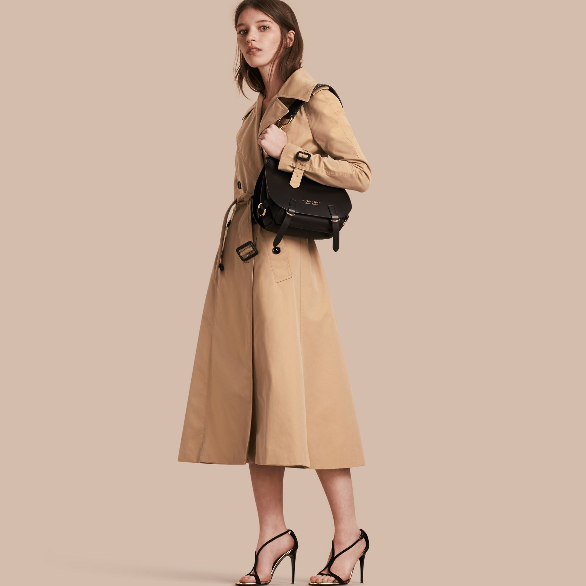 Honey Cotton Gabardine A-line Trench Coat - gallery image 1