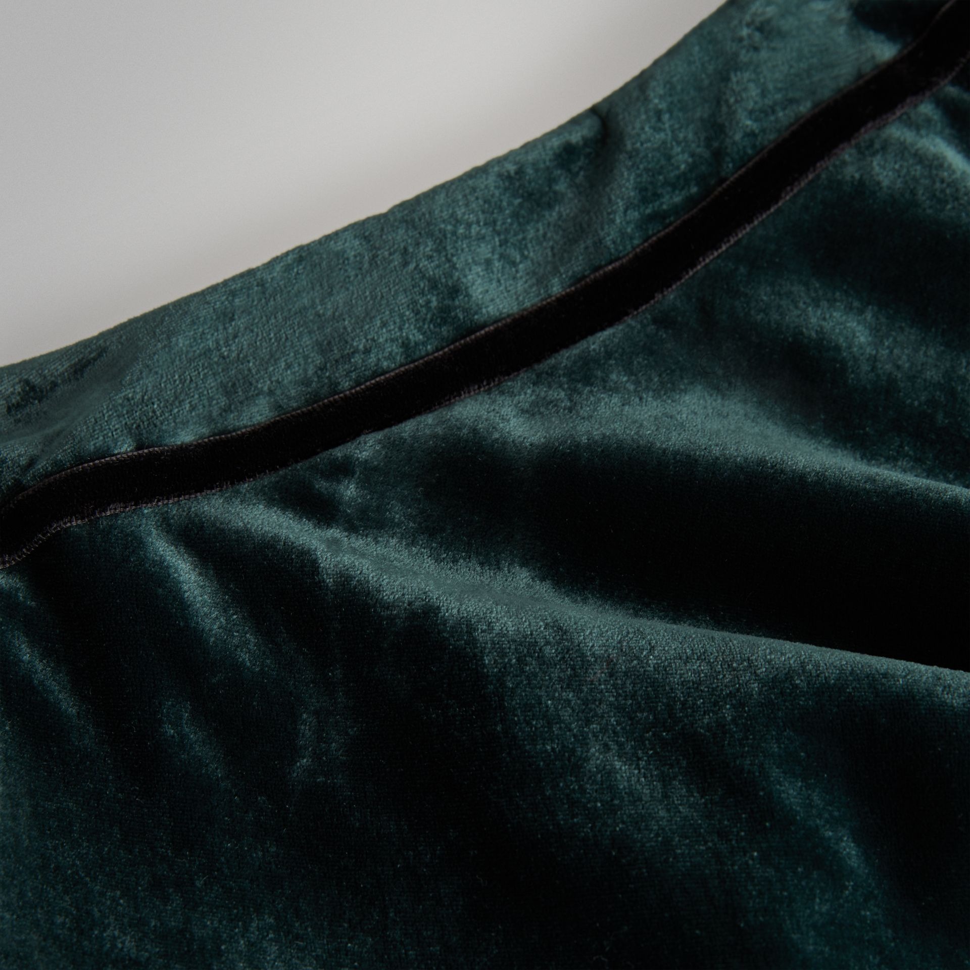 Velvet Flared Skirt in Dark Forest Green | Burberry - gallery image 1
