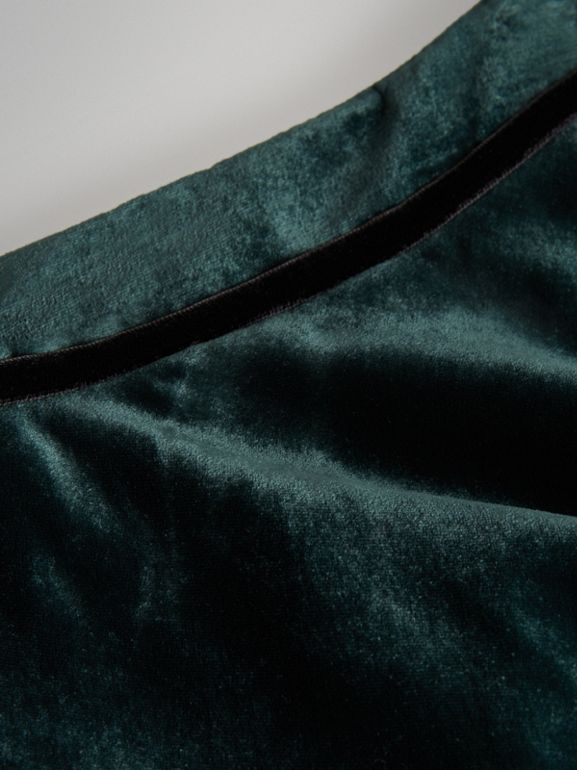 Velvet Flared Skirt in Dark Forest Green | Burberry Canada - cell image 1