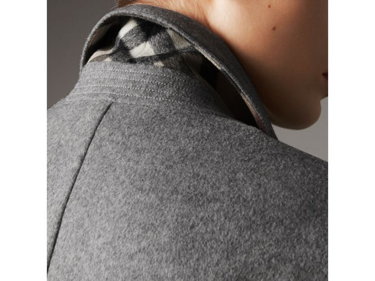 Ruffle Detail Wool Cashmere Tailored Coat in Pale Grey Melange - Women | Burberry United States - cell image 4
