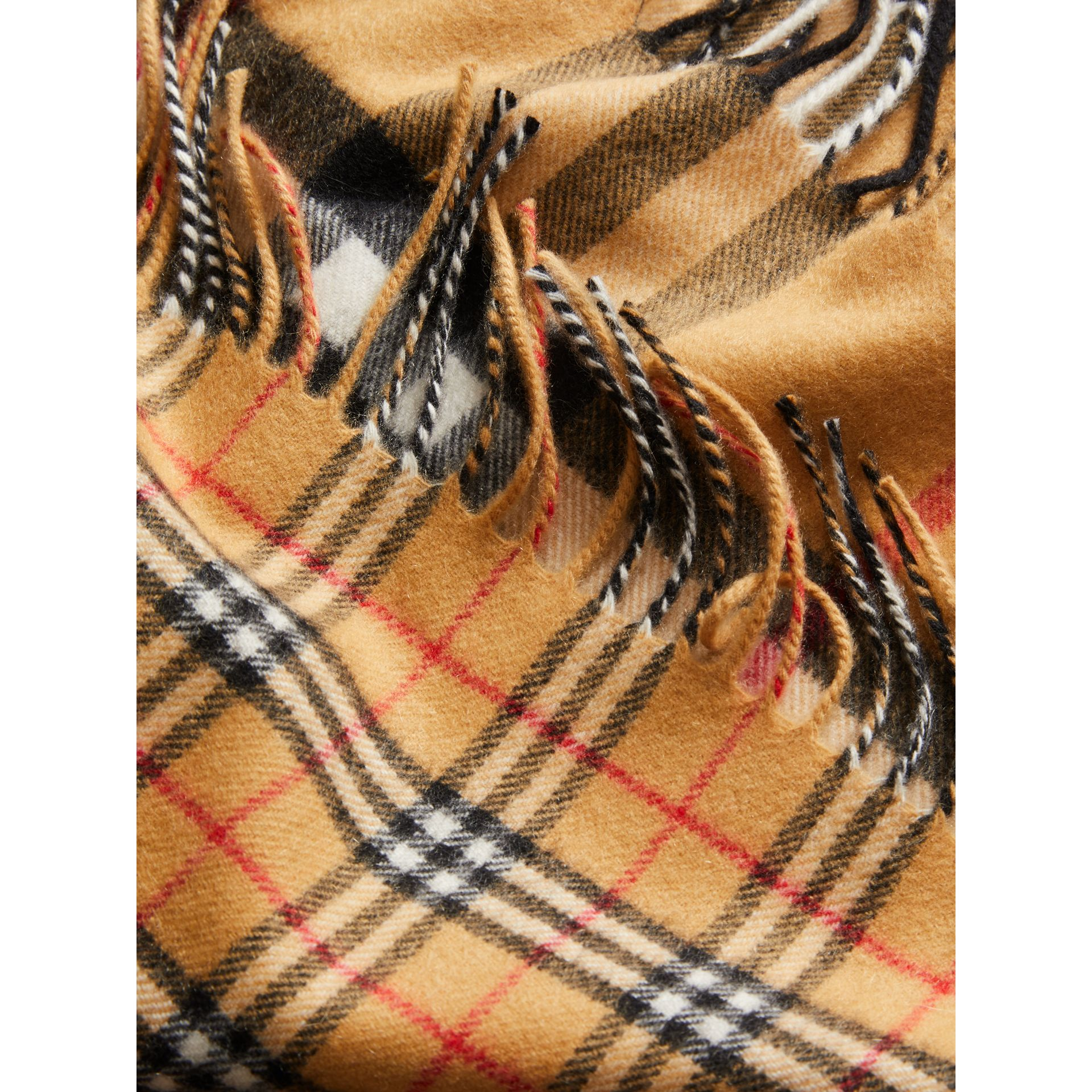 Gosha x Burberry Check Cashmere Double Scarf in Antique Yellow | Burberry - gallery image 6