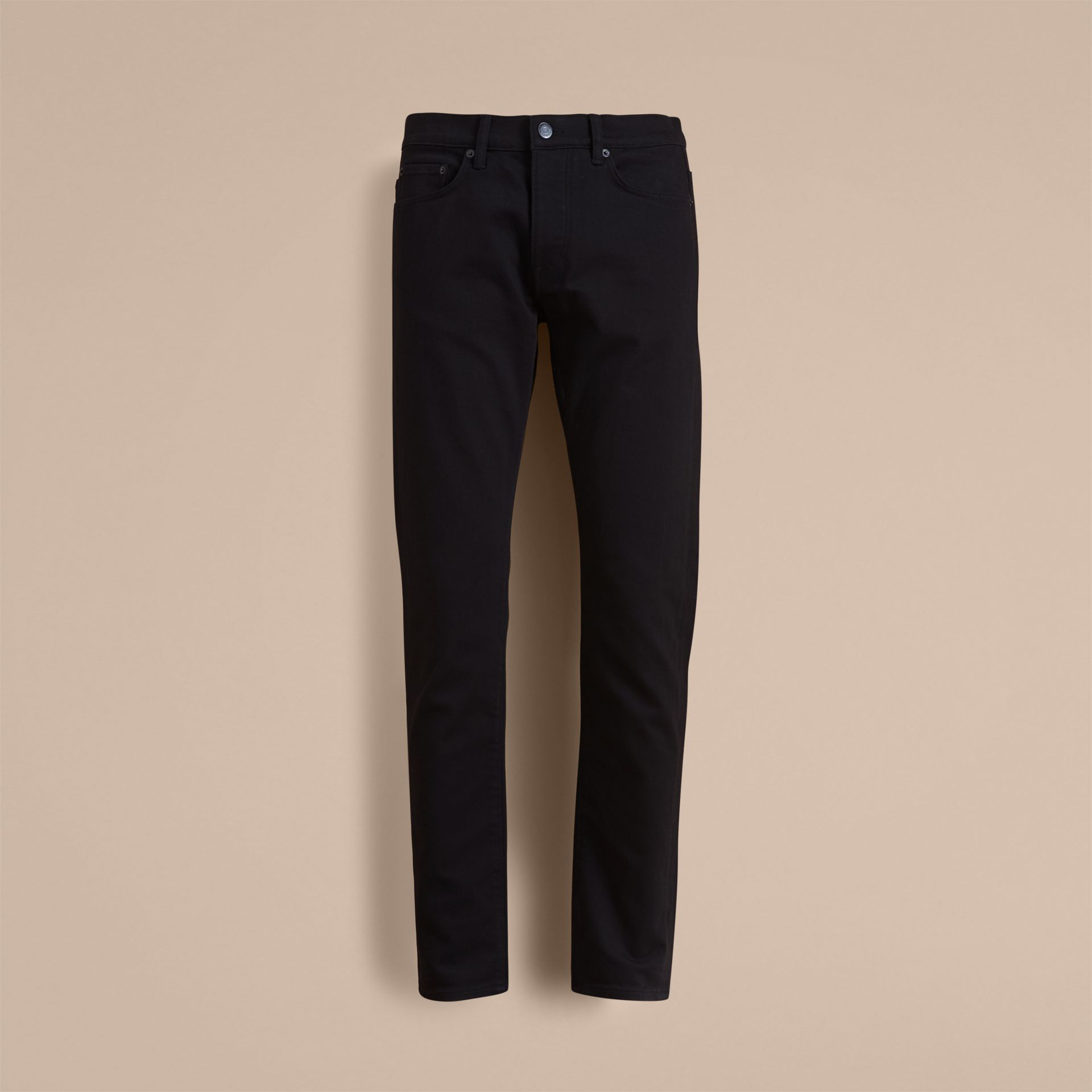Relaxed Fit Stretch Jeans in Black - Men | Burberry - gallery image 4