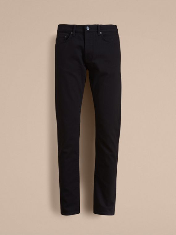 Relaxed Fit Stretch Jeans in Black - Men | Burberry - cell image 3