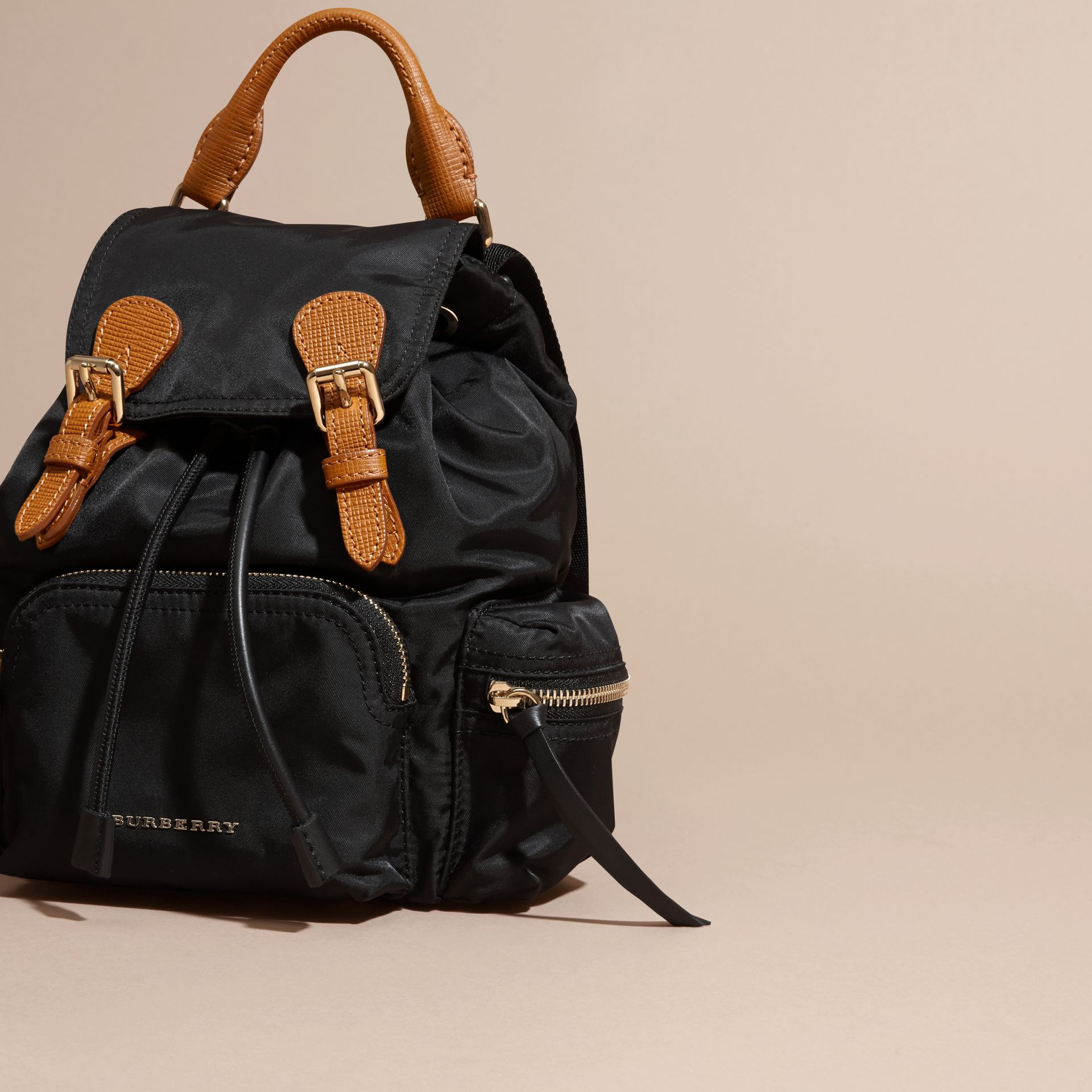 The Small Rucksack in Technical Nylon and Leather Black - gallery image 7
