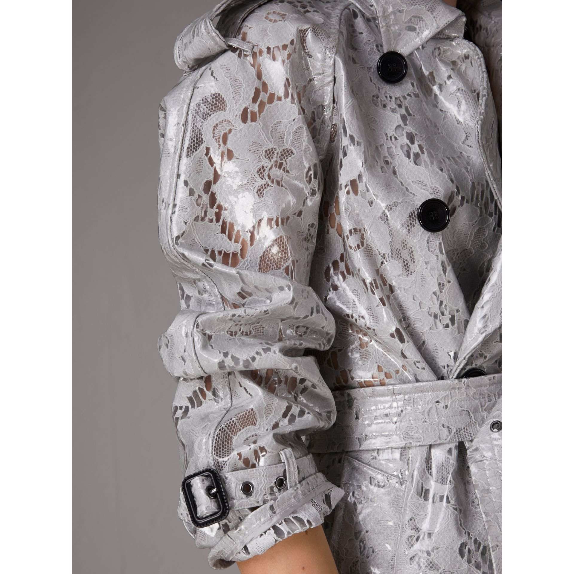 Laminated Lace Trench Coat in Pale Grey - Women | Burberry - gallery image 5