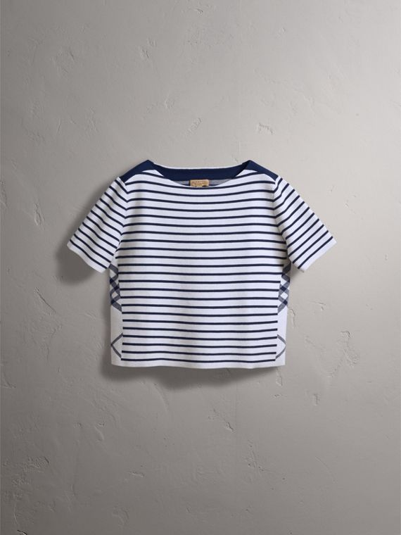 Check and Stripe Knitted Wool Blend T-shirt in Bright Navy - Women | Burberry United Kingdom - cell image 3