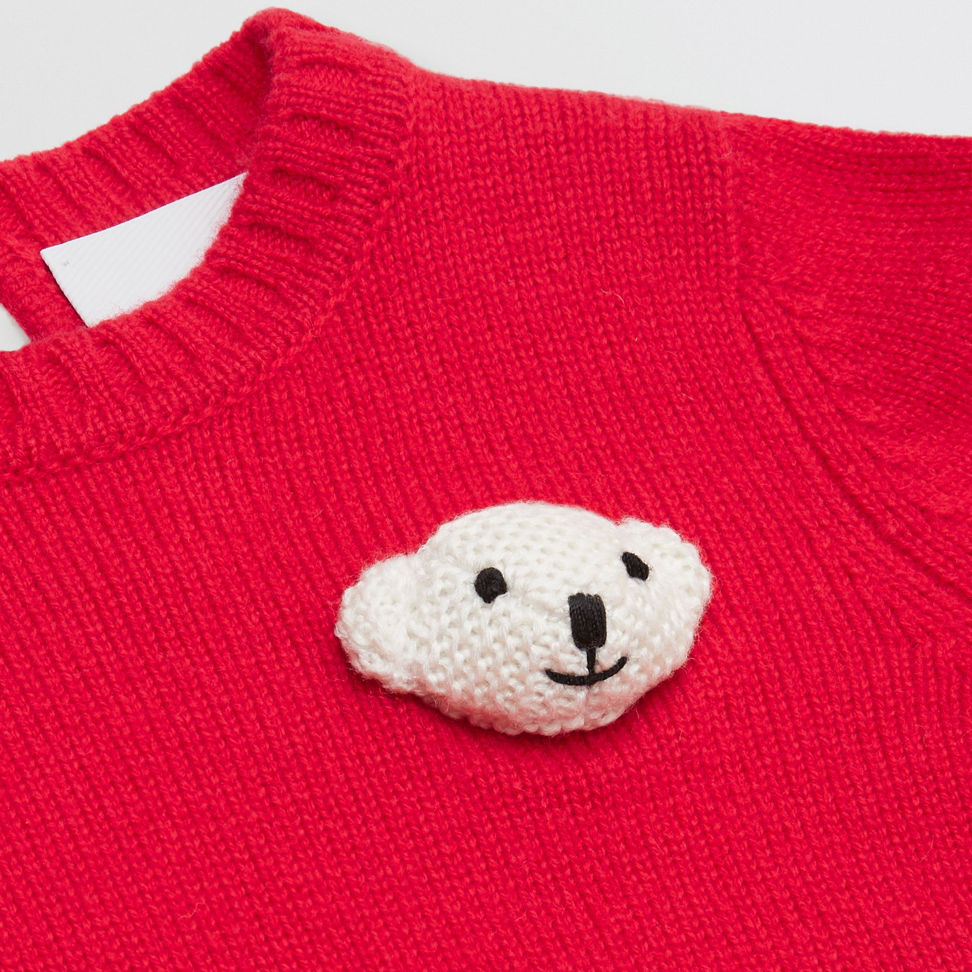 Thomas Bear Detail Wool Cashmere Sweater in Bright Red - Children | Burberry United Kingdom - gallery image 1