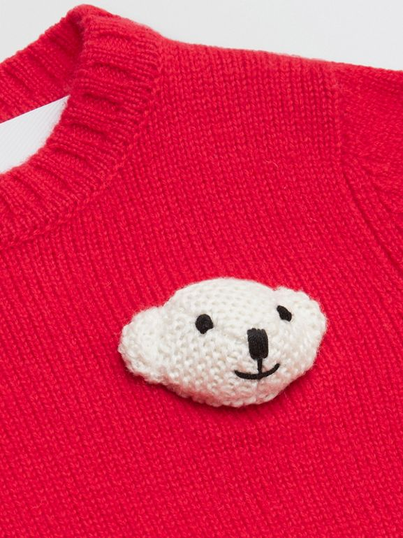 Thomas Bear Detail Wool Cashmere Sweater in Bright Red - Children | Burberry United Kingdom - cell image 1
