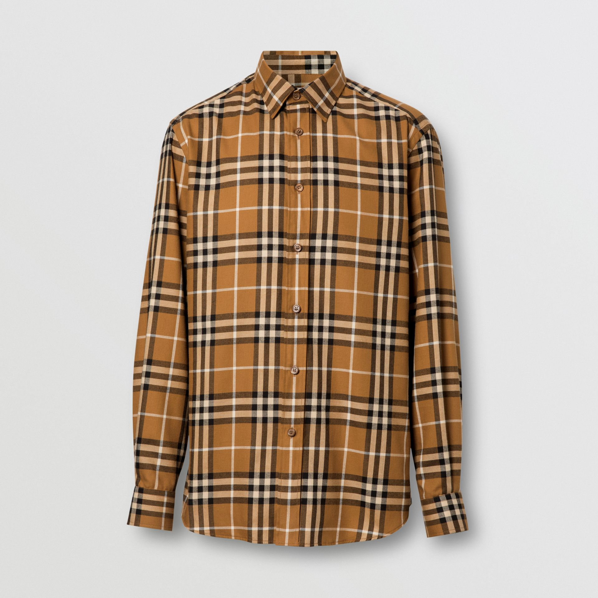 Vintage Check Cotton Flannel Shirt in Warm Walnut - Men | Burberry United Kingdom - gallery image 3