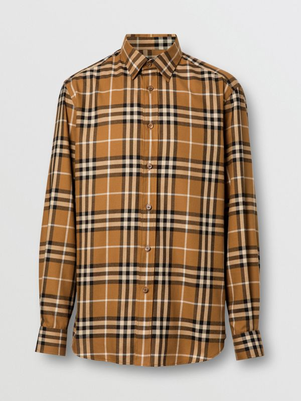 Vintage Check Cotton Flannel Shirt in Warm Walnut - Men | Burberry United Kingdom - cell image 3