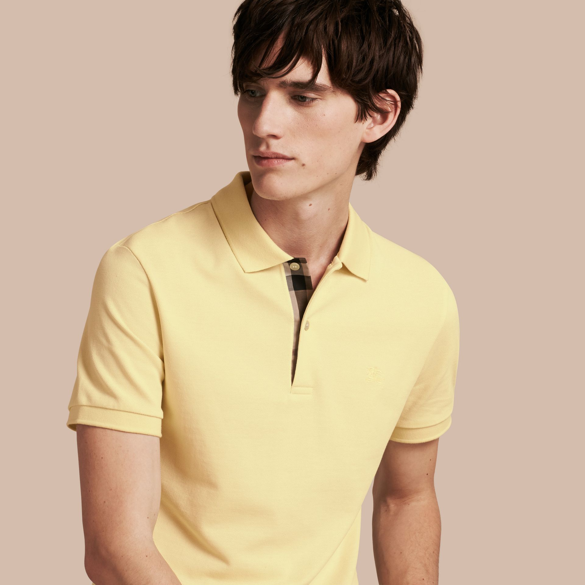 Check Placket Cotton Piqué Polo Shirt in Vanilla Yellow - Men | Burberry - gallery image 1