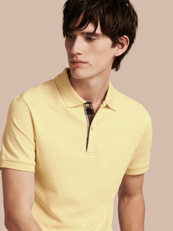 Check Placket Cotton Piqué Polo Shirt in Vanilla Yellow - Men | Burberry