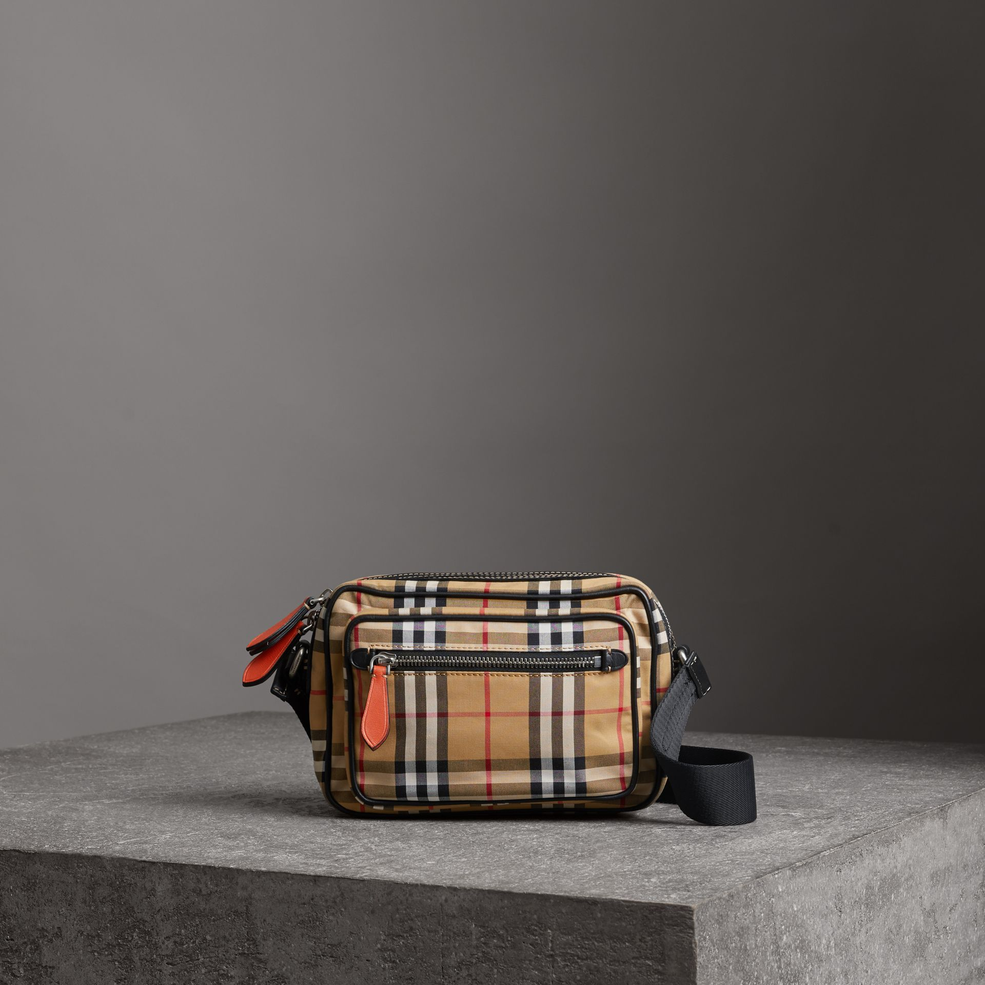 Vintage Check and Leather Crossbody Bag in Clementine - Men | Burberry - gallery image 0
