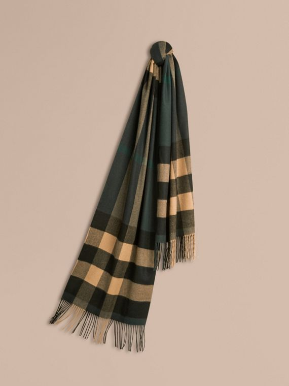 Oversize Check Cashmere Scarf Dark Green/ Camel
