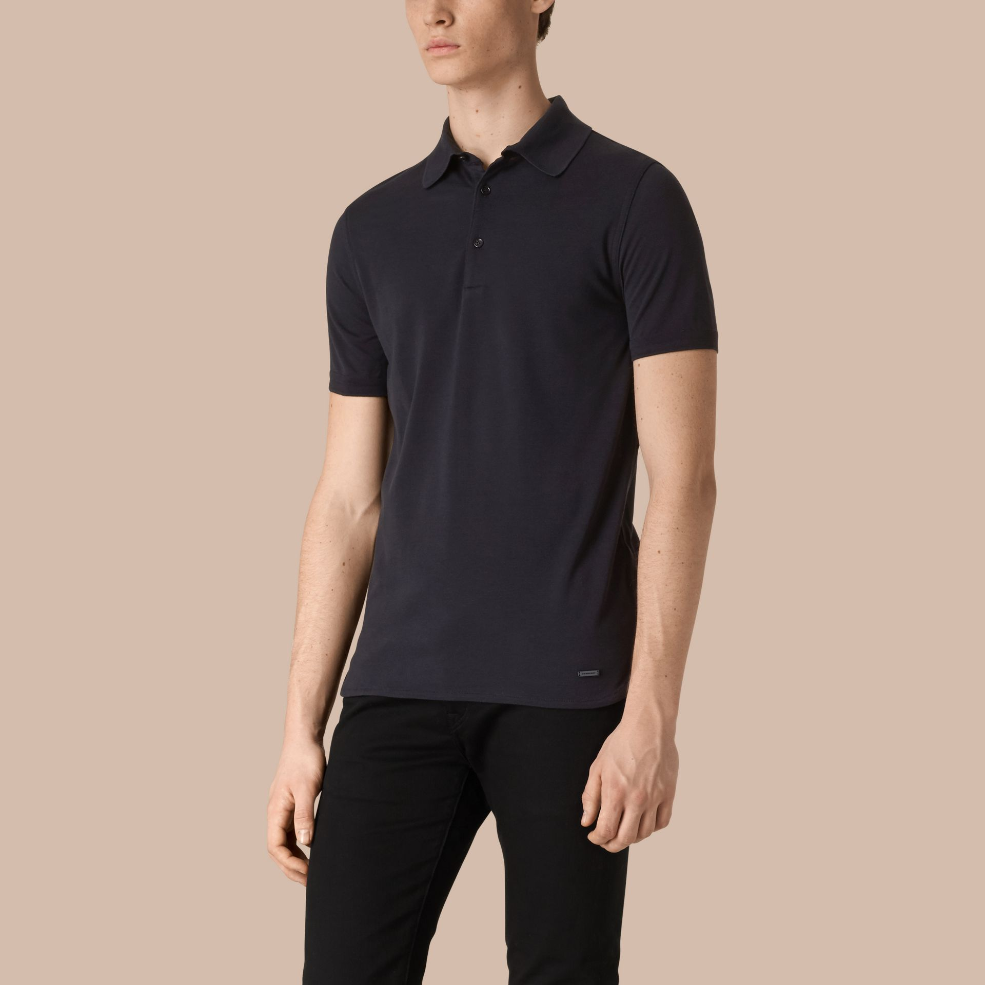 Dark navy Silk Cotton Polo Shirt Dark Navy - gallery image 1