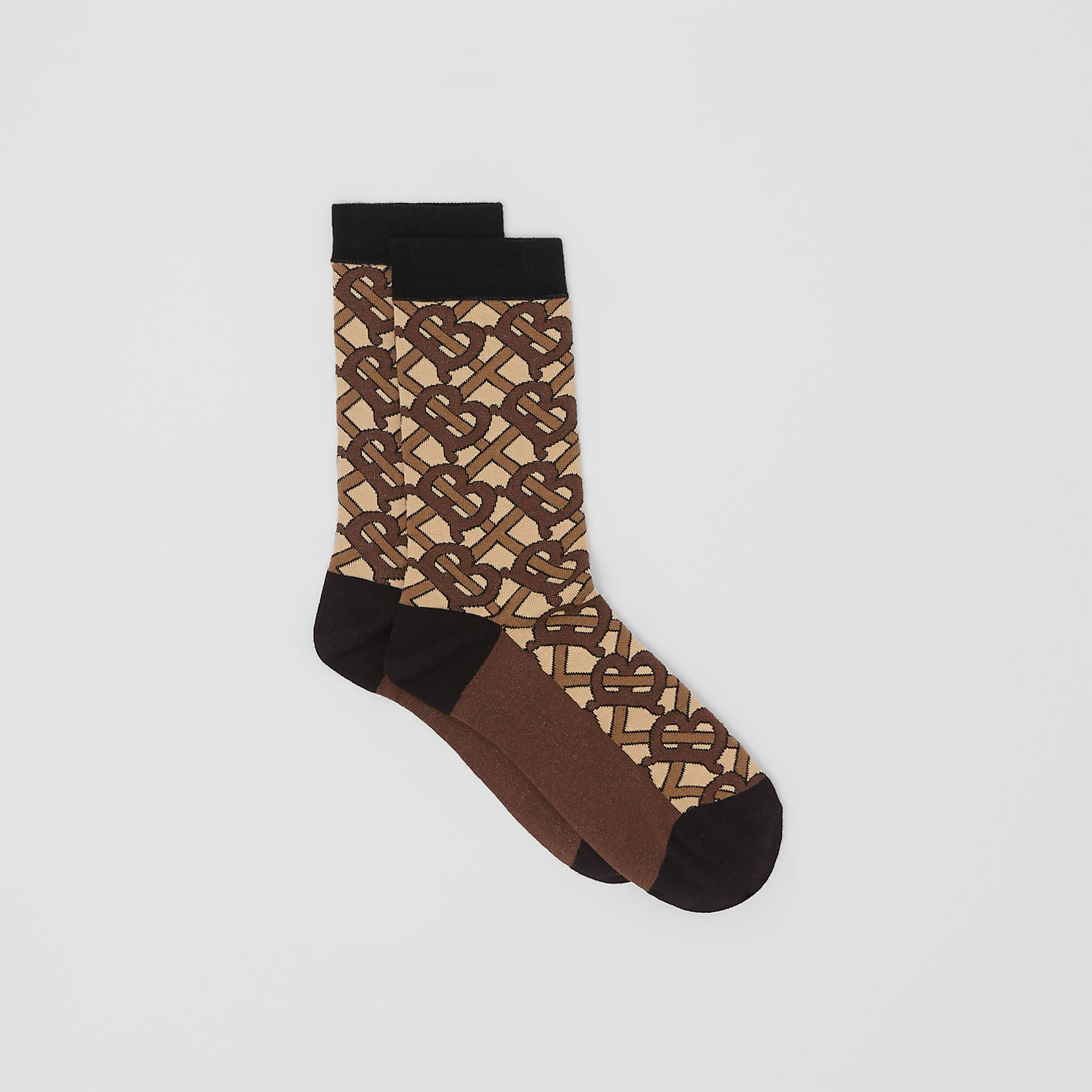 Monogram Intarsia Cotton Blend Socks in Bridle Brown | Burberry Australia - gallery image 2