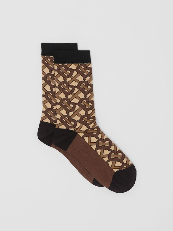 Monogram Intarsia Cotton Blend Socks in Bridle Brown | Burberry Australia - cell image 2