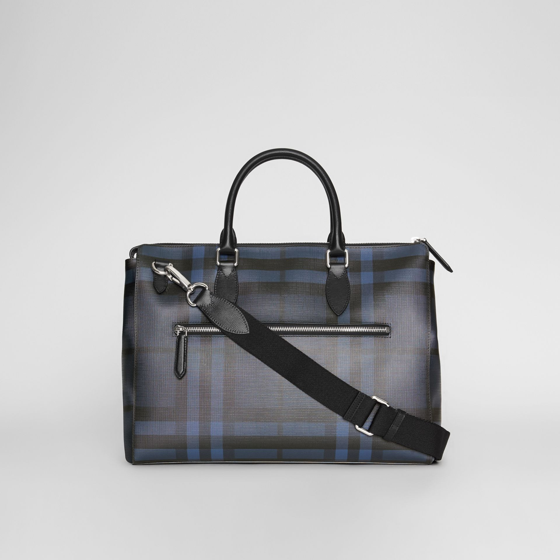 Grand attaché-case à motif London check (Marine/noir) - Homme | Burberry Canada - photo de la galerie 7