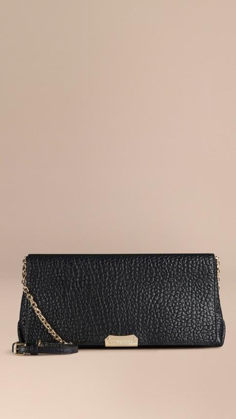 Black Medium Signature Grain Leather Clutch Bag Black - Image 7